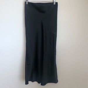 Rachel Zoe Classic Satin Black Midi Bias Skirt
